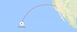Map of flight to honolulu