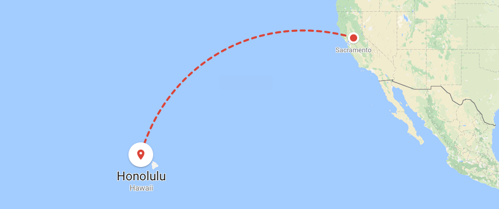 Map of flight to honolulu