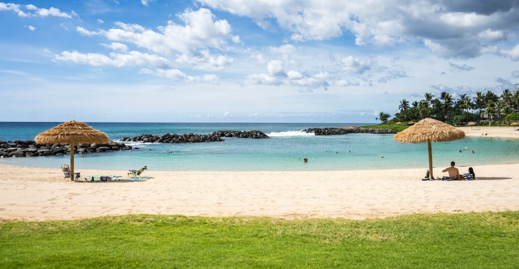 hawaiian beach at a marriott resort