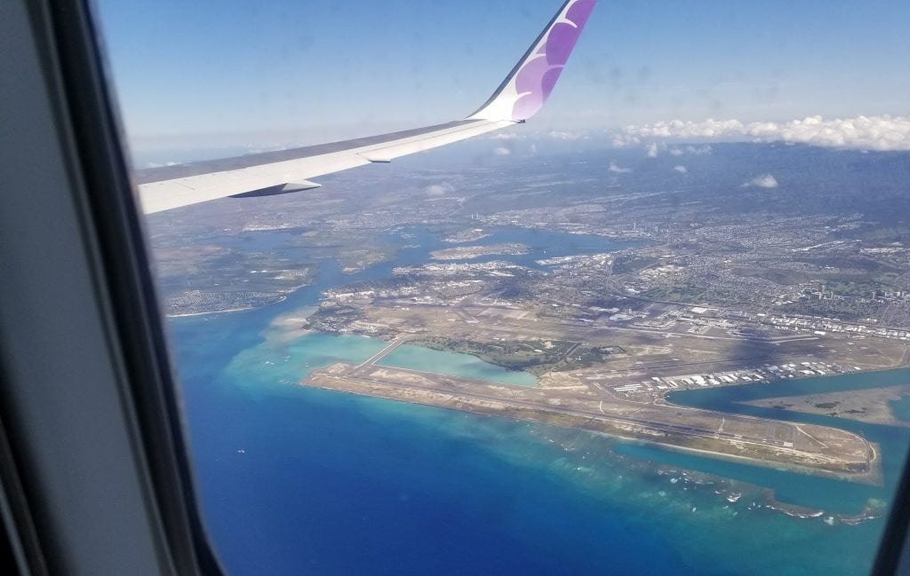 view of honolulu from airplane